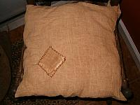 prim flour sack chair pad