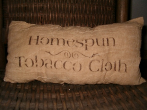 homespun tobacco cloth pillow