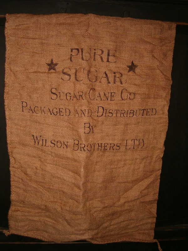 large pure sugar burlap sack