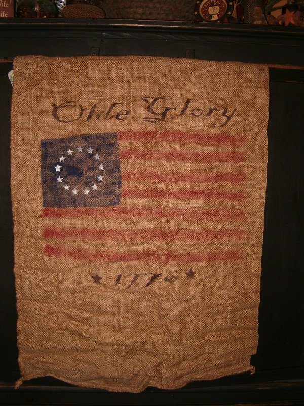 large Olde Glory burlap sack