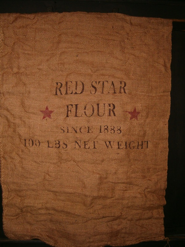 large red star flour burlap sack