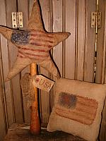 Prim star on bobbin or small flag pillow