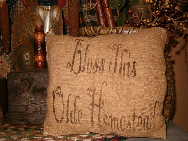 bless this olde homestead pillow