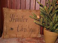 cursive primitive Christmas heirloom pillow