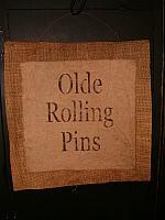 Olde Rolling Pins burlap sack hanger