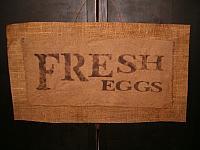 Fresh Eggs burlap hanger