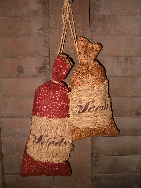 red and tan prairie seed bags