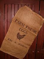 medium Farm Fresh Eggs burlap sack