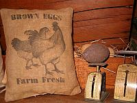 brown eggs farm fresh pillow