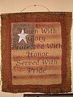 flown with glory burlap wall hanging