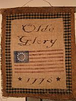Olde Glory burlap wall hanging
