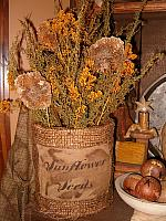 sunflower seeds burlap dried floral can