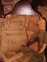 primitives treasures of the attic pillow