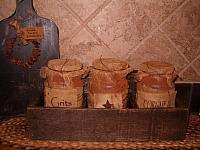 3 bin Country Store caddy with grubby jars