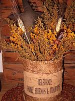 celebrate family large burlap dried floral can