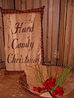 hard candy Christmas homespun pillow