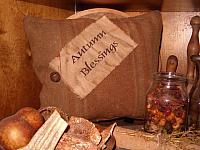 Autumn blessings mustard heirloom pillow