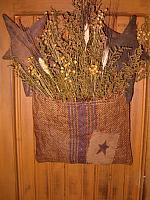 #227 prim star burlap sack hanger