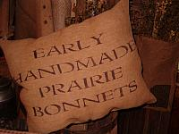 Early handmade prairie bonnets pillow