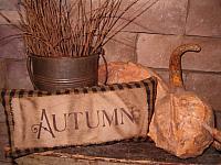 Autumn homespun pillow