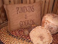 pumpkins and gourds feedsack pillow