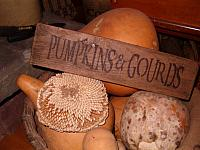 small pumpkins and gourds sign