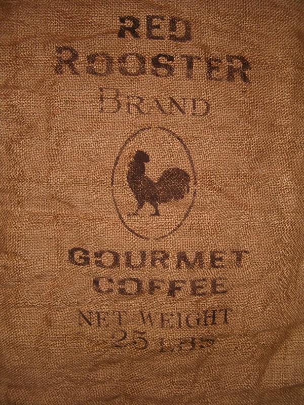 large red rooster brand coffee burlap sack