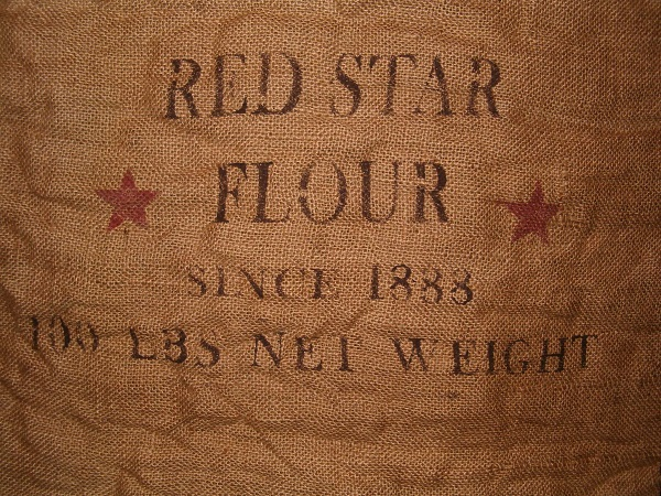 large red star flour burlap sack