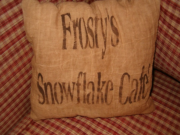 Frosty's snowflake cafe pillow