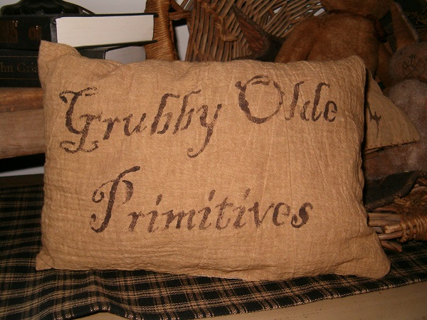 grubby olde primitives pillow