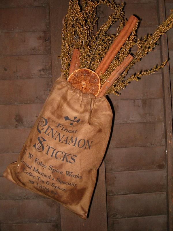 Cinnamon sticks stuffed ditty bag
