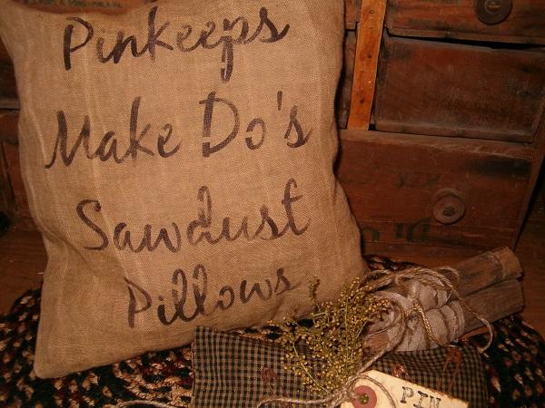 pinkeeps makedos sawdust pillow
