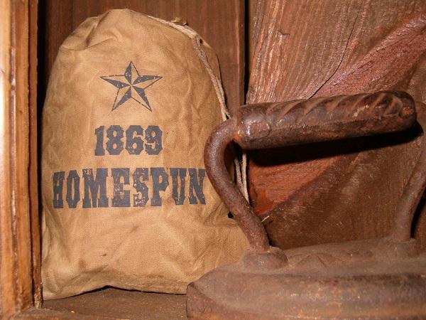 1869 Homespun stuffed ditty bag