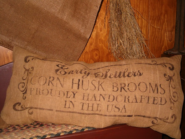 early settlers corn husk brooms pillow