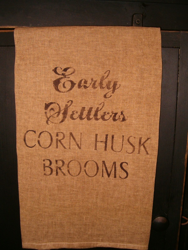 early settlers corn husk broom towel