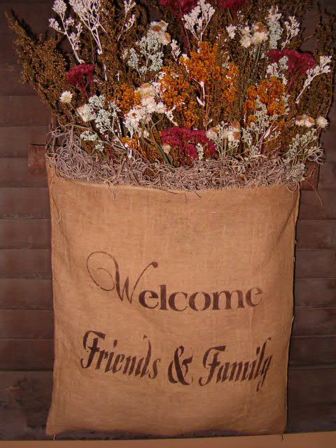 welcome family and friends dried floral hanger