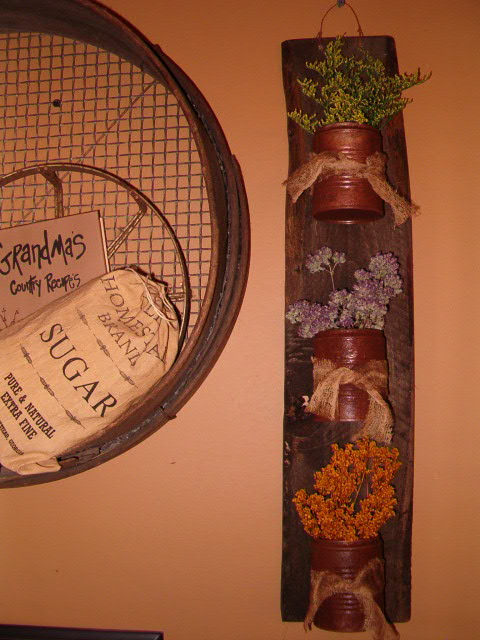 triple vertical dried floral hanger