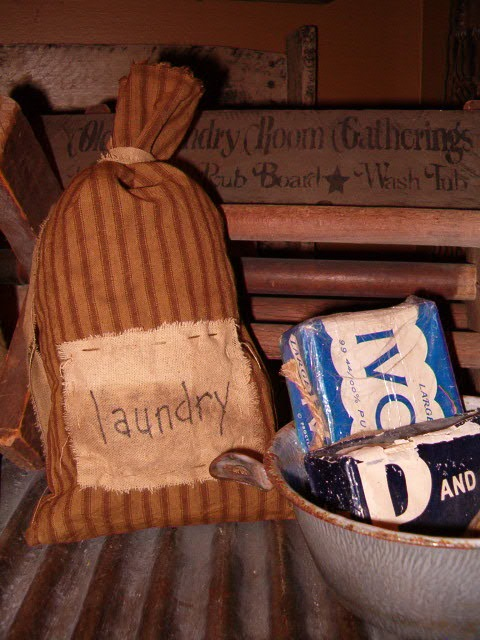 tan ticking laundry patch sack