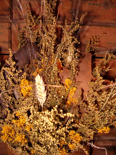 home is where burlap dried floral can