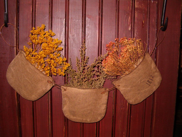 hanging dried floral pocket trio