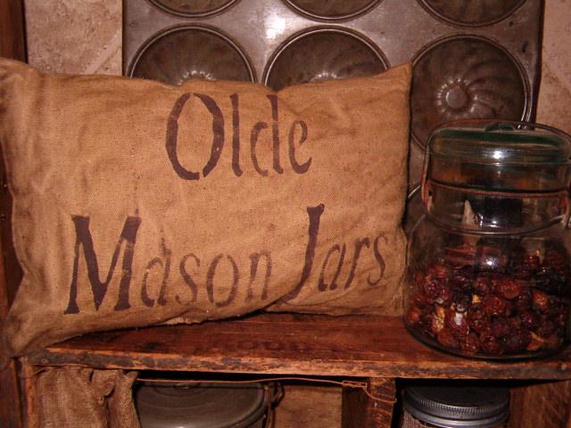 olde mason jars pillow