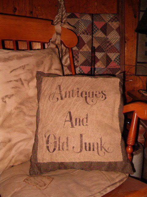 Antiques and Olde Junk pillow