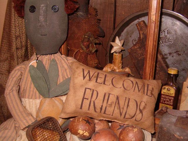 welcome friends pillow