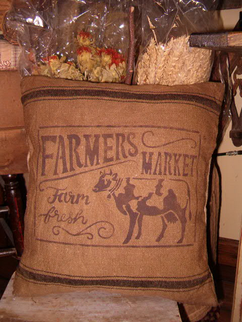 feedsack farmers market cow pillow