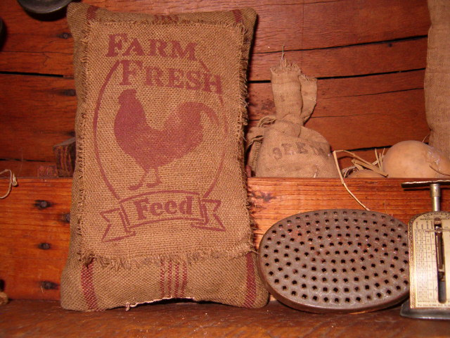 farm fresh feed heirloom pillow with rooster