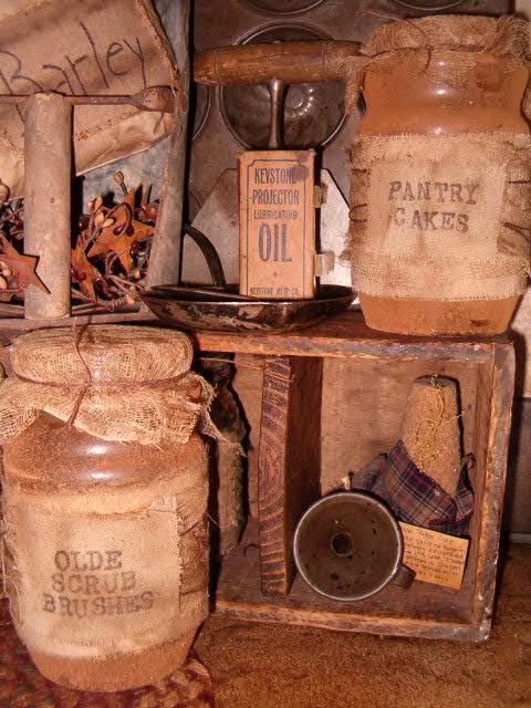 Large grungy pantry jars