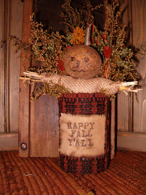 Fall can with gourd scarecrow