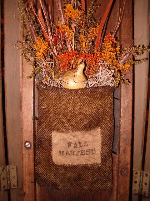 Fall Harvest hanging burlap sack