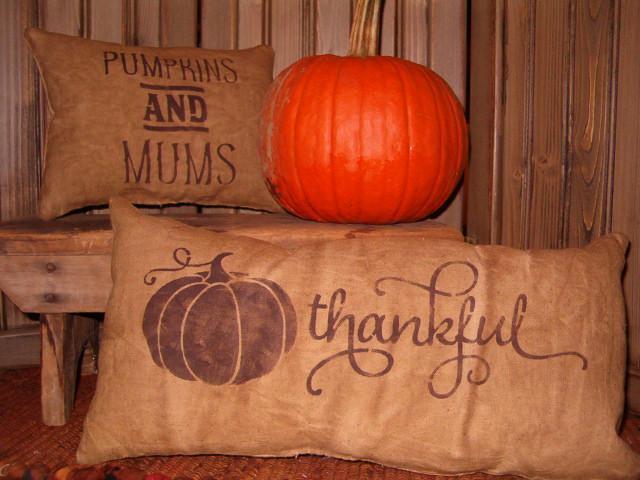 Pumpkin and Mums or Thankful pumpkin pillow