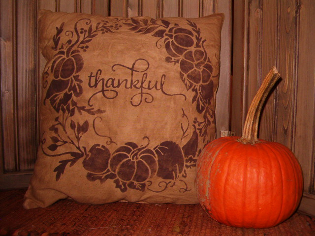 Thankful wreath pillow